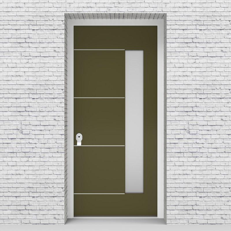 12.single Door 4 Aluminium Inlays With Hinge Side Glass Reed Green (ral6013)