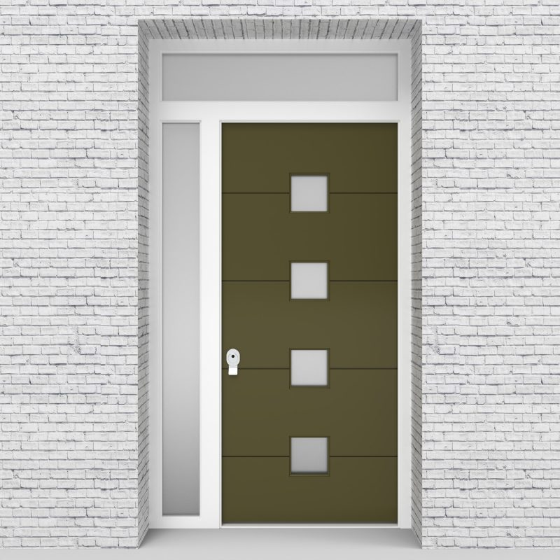 12.single Door 4 Horizontal Lines With 4 Glass Squares Reed Green (ral6013)