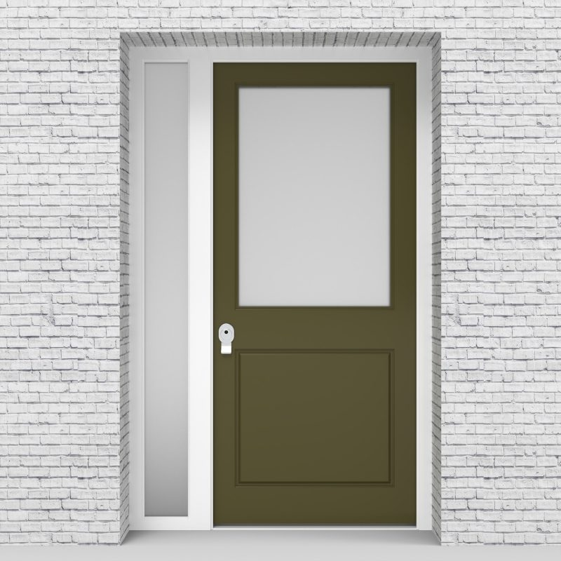 12.single Door With Left Side Panel 2 Panel With A Large Glass Pane Reed Green (ral6013)