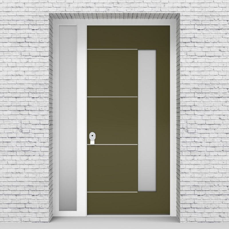 12.single Door With Left Side Panel 4 Aluminium Inlays With Hinge Side Glass Reed Green (ral6013)