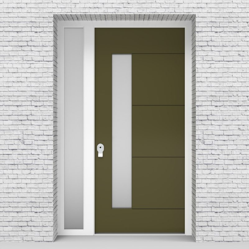 12.single Door With Left Side Panel 4 Horizontal Lines With Lock Side Glass Reed Green (ral6013)