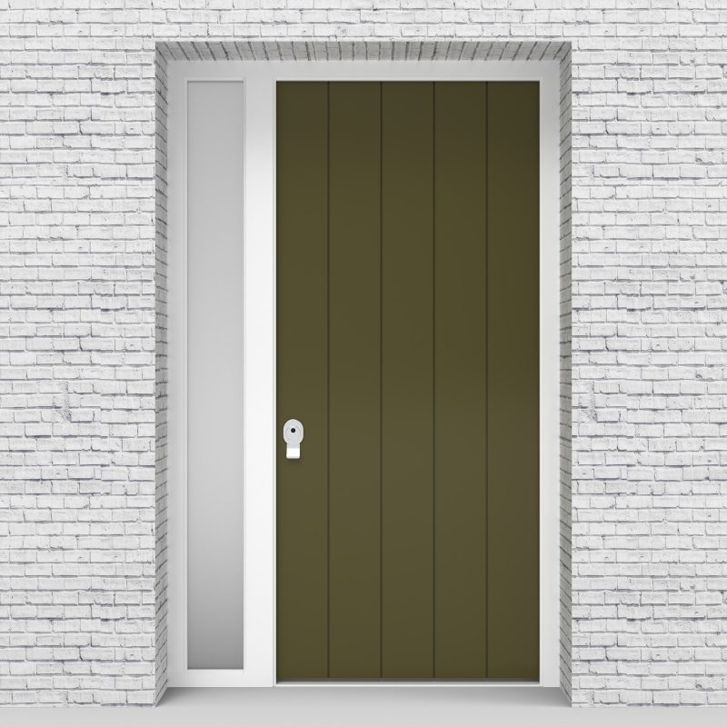 12.single Door With Left Side Panel 4 Vertical Lines Reed Green (ral6013)