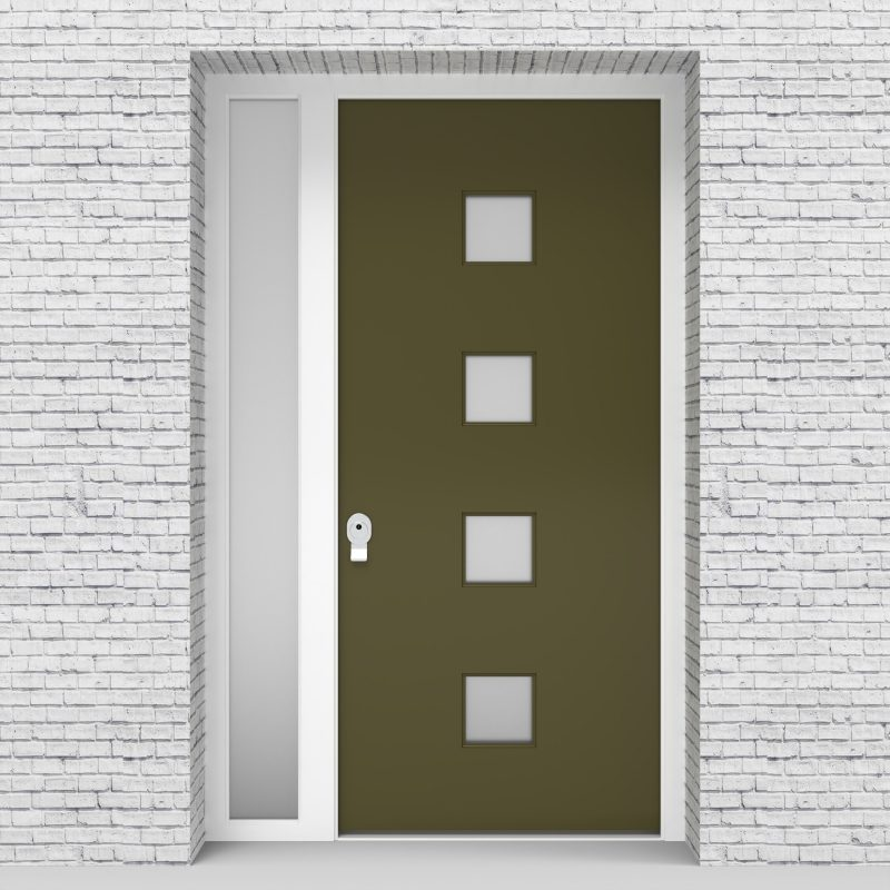 12.single Door With Left Side Panel Plain With 4 Glass Squares Reed Green (ral6013)