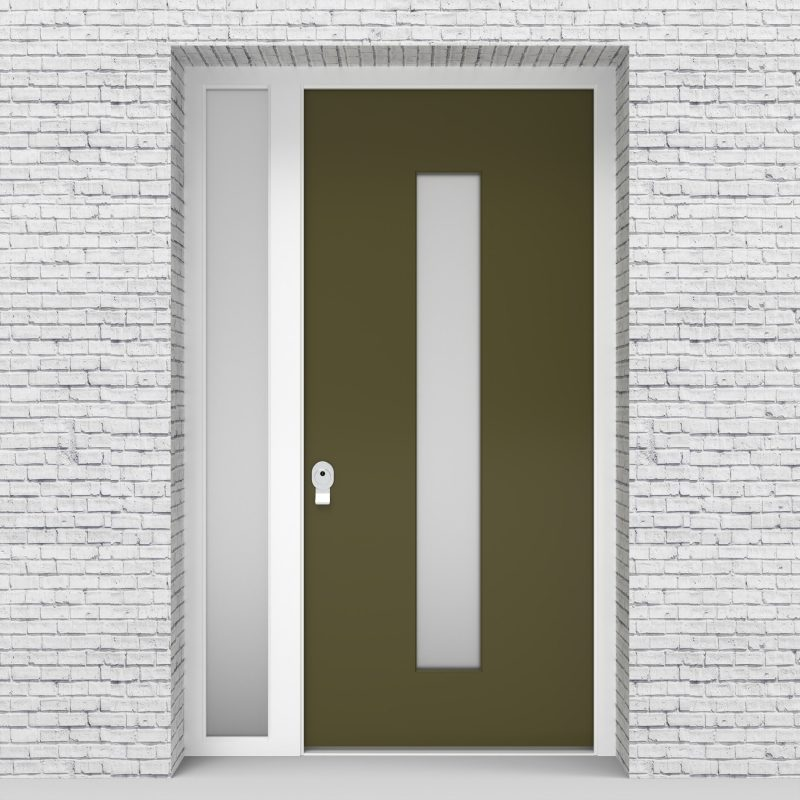 12.single Door With Left Side Panel Plain With Central Glass Reed Green (ral6013)
