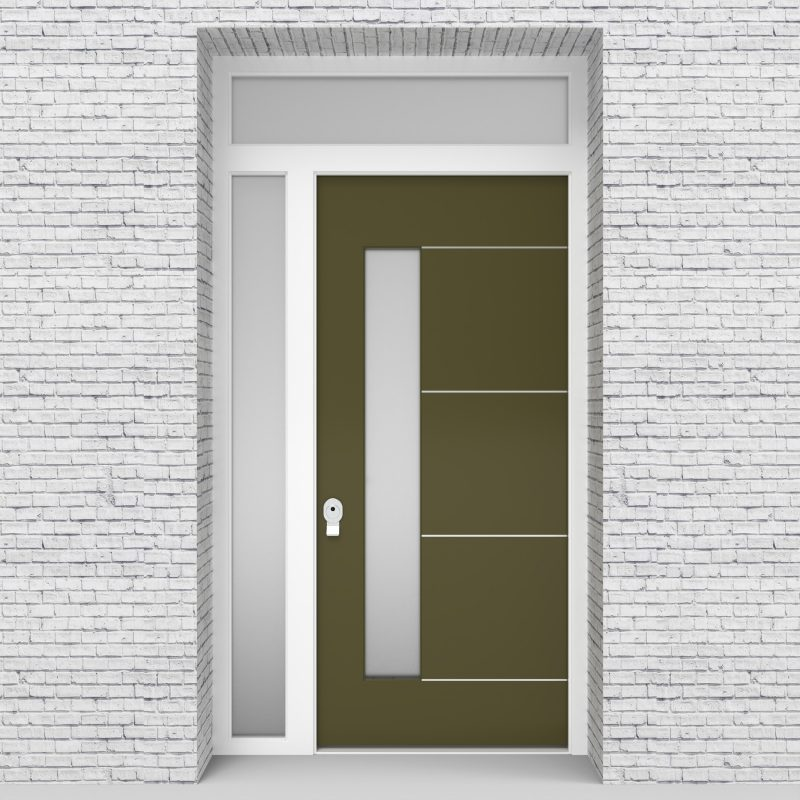 12.single Door With Left Side Panel And Transom 4 Aluminium Inlays With Lock Side Glass Reed Green (ral6013)