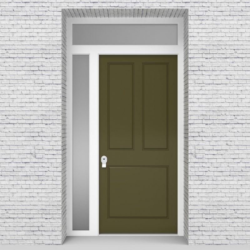 12.single Door With Left Side Panel And Transom Edwardian 3 Panel Reed Green (ral6013)