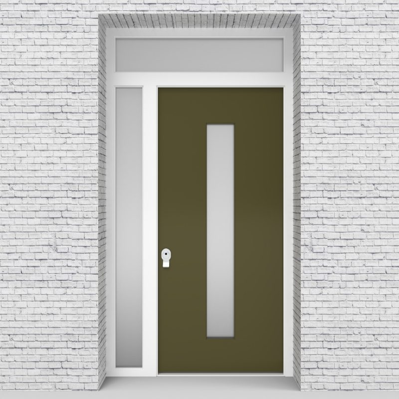 12.single Door With Left Side Panel And Transom Plain With Central Glass Reed Green (ral6013)