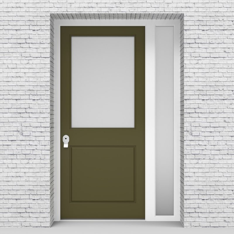 12.single Door With Right Side Panel 2 Panel With A Large Glass Pane Reed Green (ral6013)