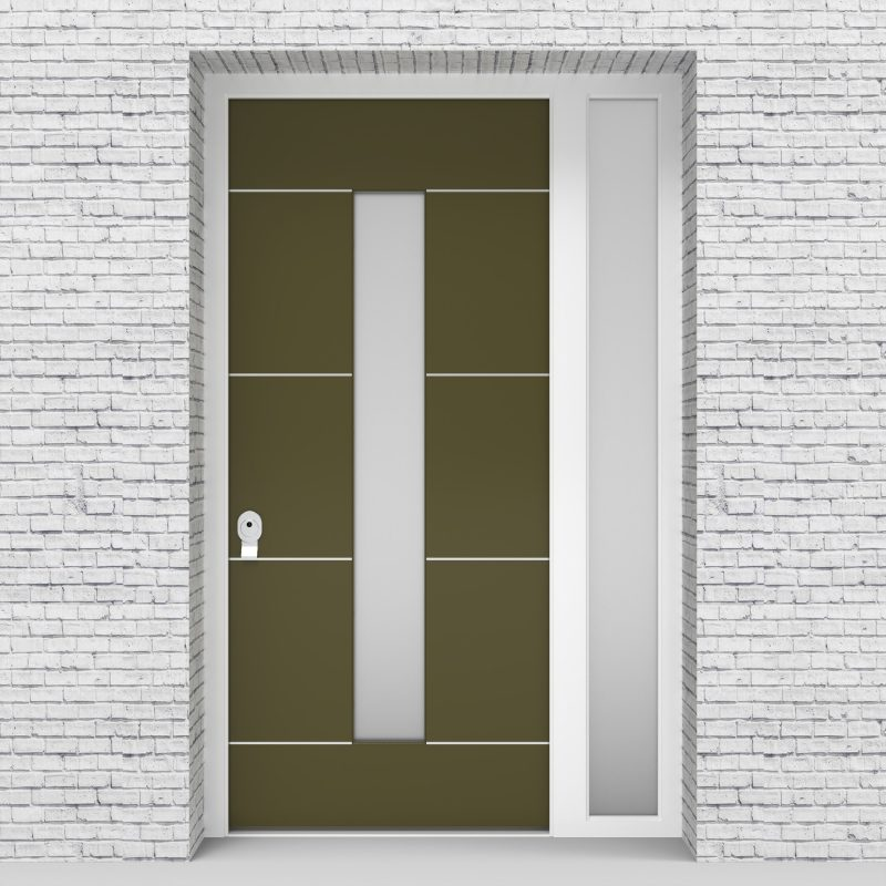 12.single Door With Right Side Panel 4 Aluminium Inlays With Central Glass Reed Green (ral6013)