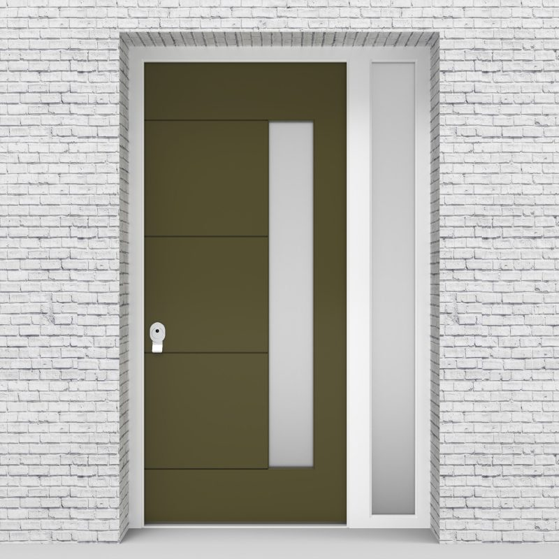 12.single Door With Right Side Panel 4 Horizontal Lines With Hinge Side Glass Reed Green (ral6013)