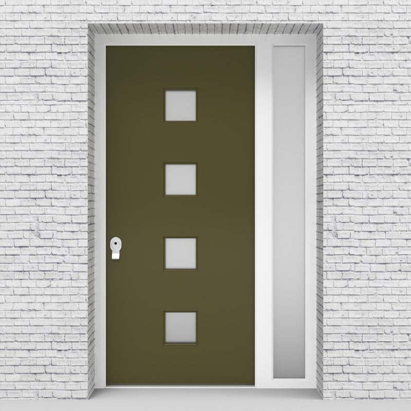 12.single Door With Right Side Panel Plain With 4 Glass Squares Reed Green (ral6013)