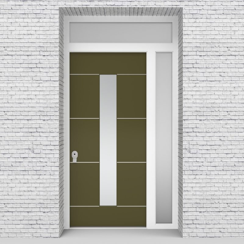 12.single Door With Right Side Panel And Transom 4 Aluminium Inlays With Central Glass Reed Green (ral6013)
