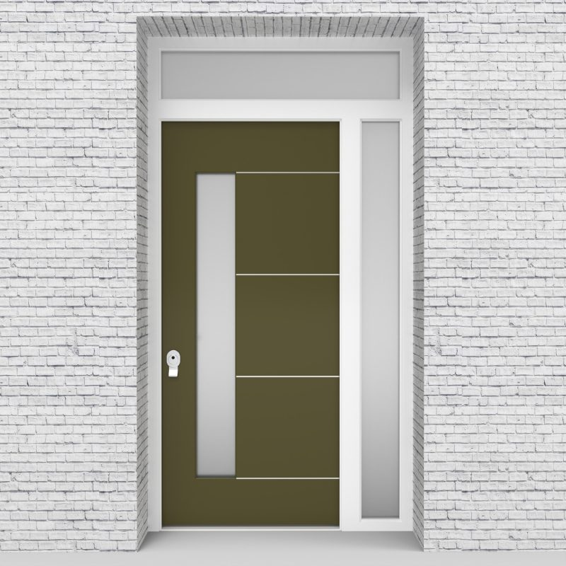 12.single Door With Right Side Panel And Transom 4 Aluminium Inlays With Lock Side Glass Reed Green (ral6013)