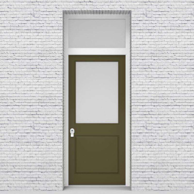 12.single Door With Transom 2 Panel With A Large Glass Pane Reed Green (ral6013)