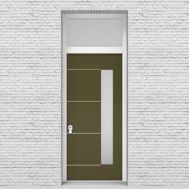 12.single Door With Transom 4 Aluminium Inlays With Hinge Side Glass Reed Green (ral6013)
