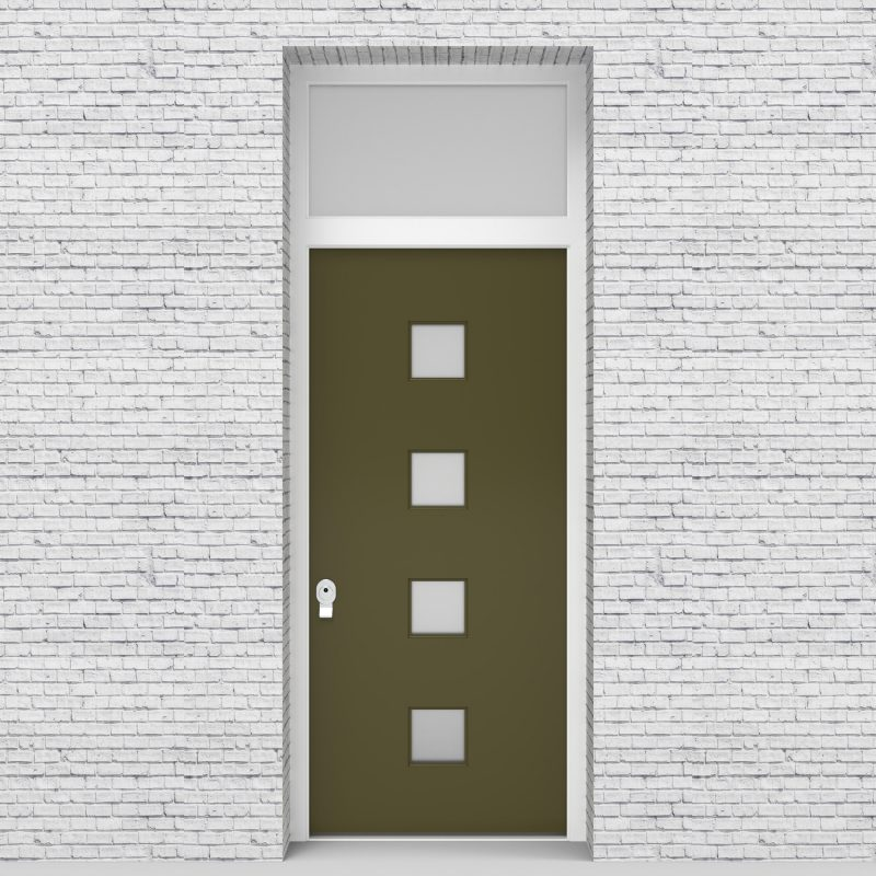 12.single Door With Transom Plain With 4 Glass Squares Reed Green (ral6013)