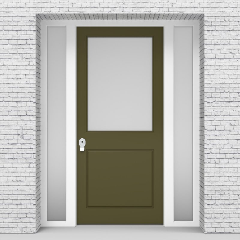 12.single Door With Two Side Panels 2 Panel With A Large Glass Panel Reed Green (ral6013)