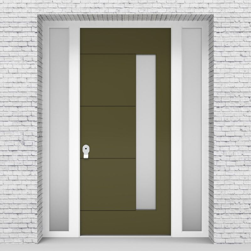 12.single Door With Two Side Panels 4 Horizontal Lines With Hinge Side Glass Reed Green (ral6013)