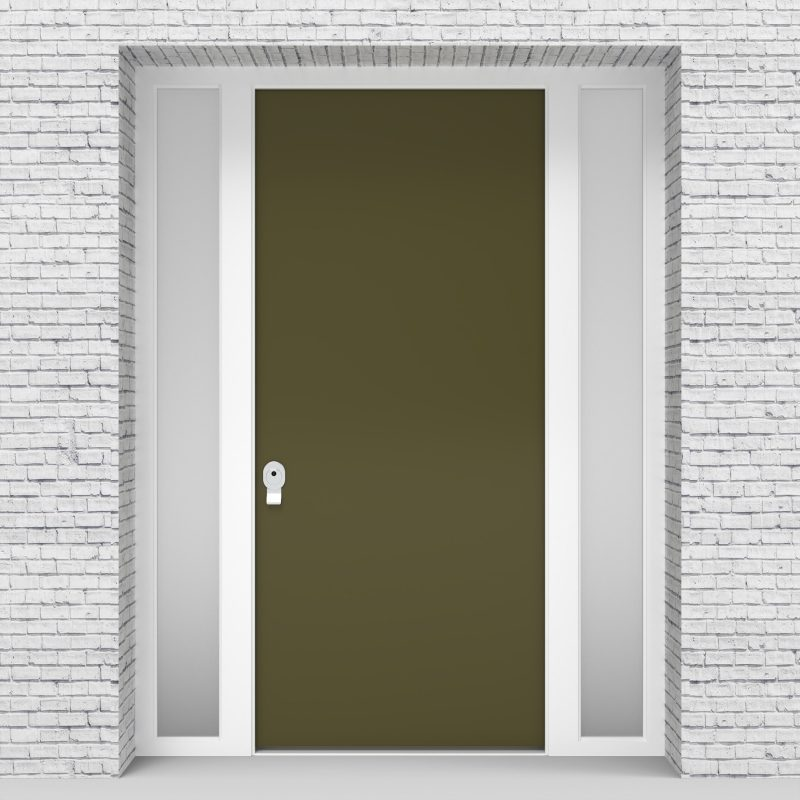 12.single Door With Two Side Panels Plain Reed Green (ral6013)