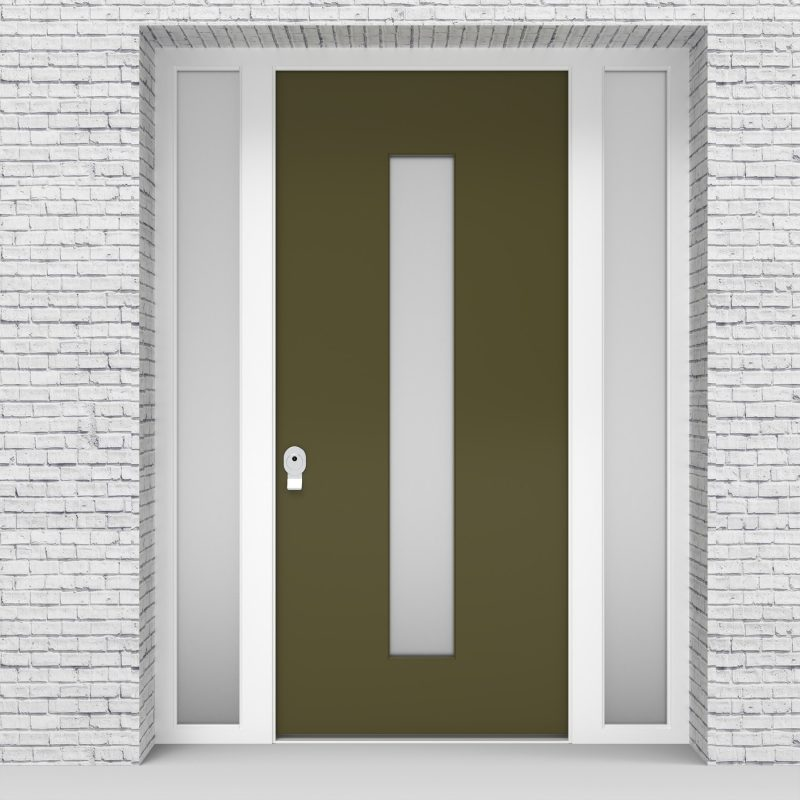 12.single Door With Two Side Panels Plain With Central Glass Reed Green (ral6013)