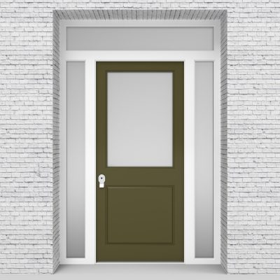 12.single Door With Two Side Panels And Transom 2 Panel With A Large Reed Green (ral6013)