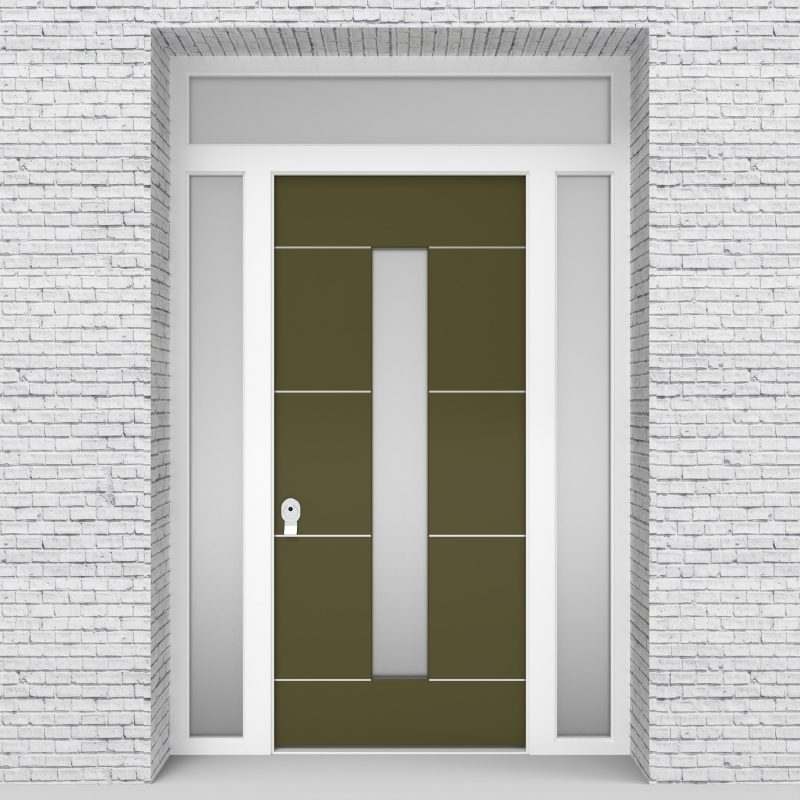 12.single Door With Two Side Panels And Transom 4 Aluminium Inlays With Central Glass Reed Green (ral6013)
