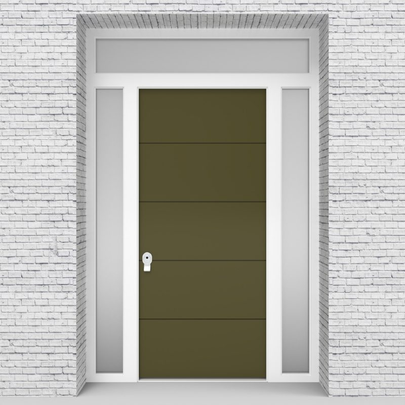 12.single Door With Two Side Panels And Transom 4 Horizontal Lines Reed Green (ral6013)