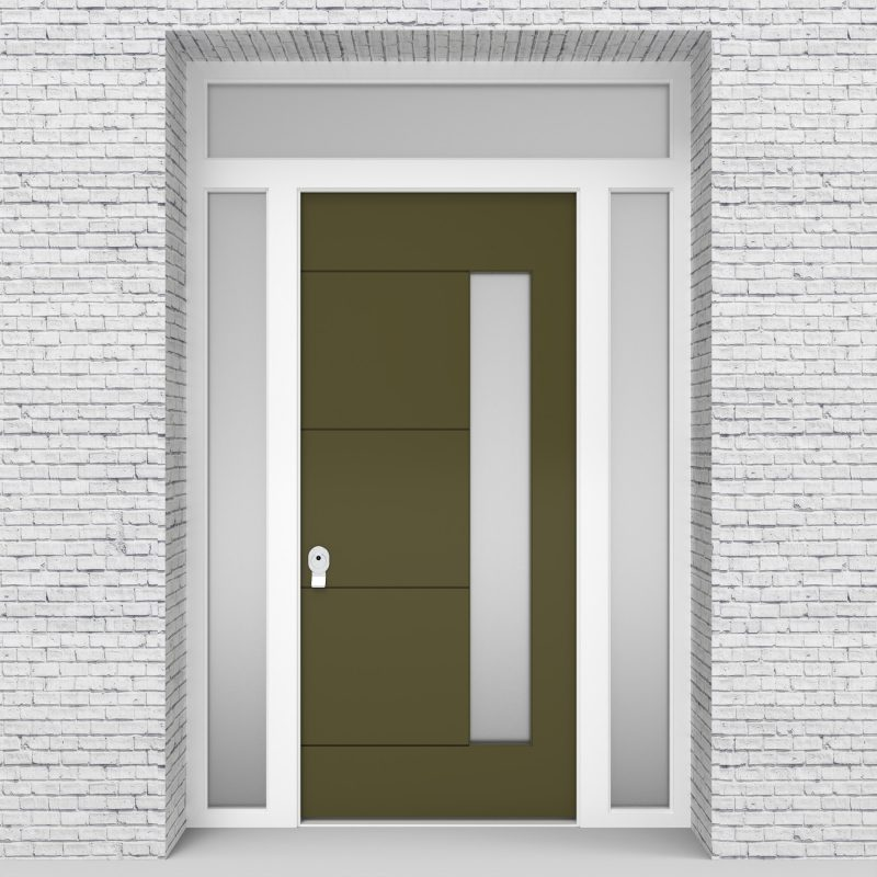 12.single Door With Two Side Panels And Transom 4 Horizontal Lines With Hinge Side Glass Reed Green (ral6013)
