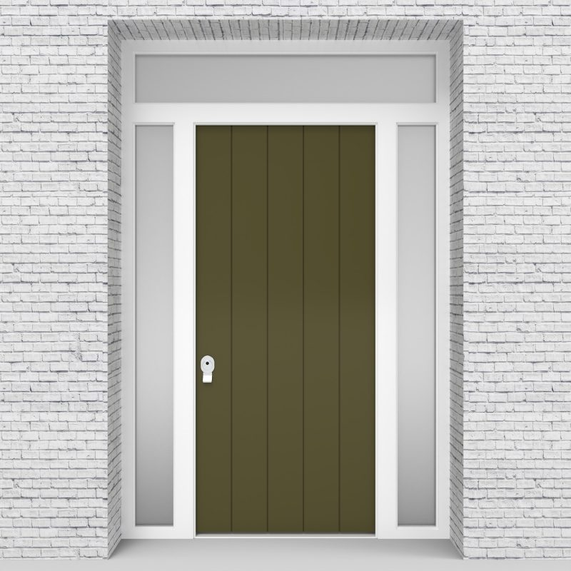 12.single Door With Two Side Panels And Transom 4 Vertical Lines Reed Green (ral6013)