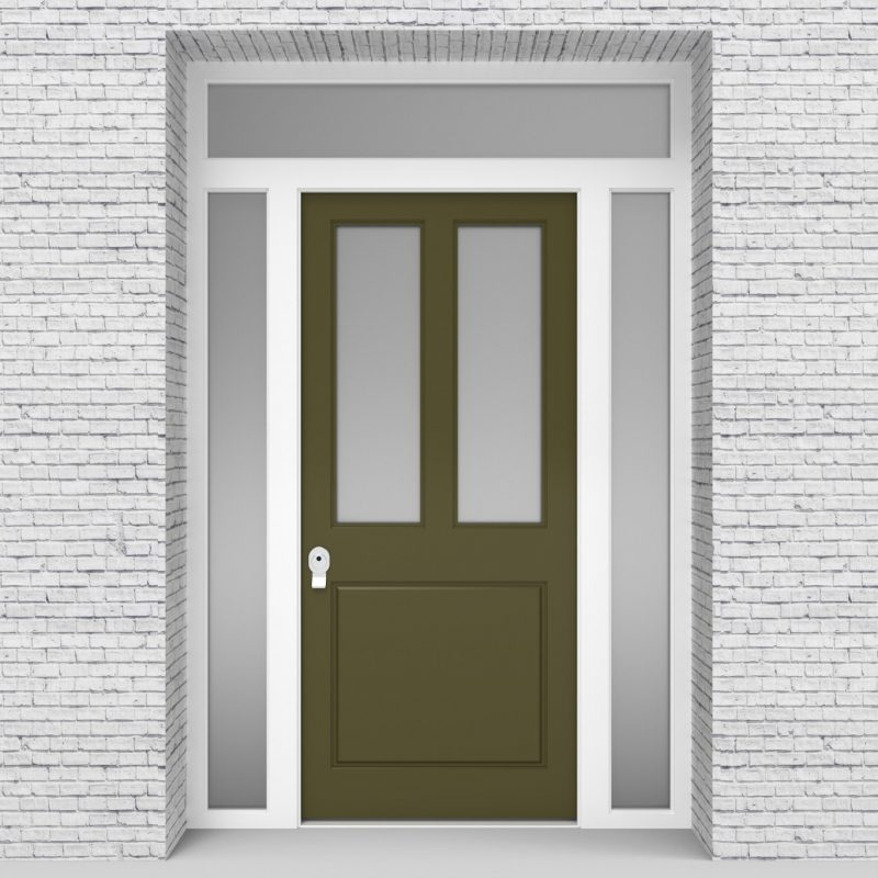 12.single Door With Two Side Panels And Transom Edwardian 3 Panel With 2 Glass Panes Reed Green (ral6013)