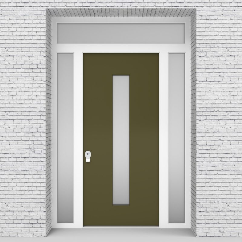 12.single Door With Two Side Panels And Transom Plain With Central Glass Reed Green (ral6013)
