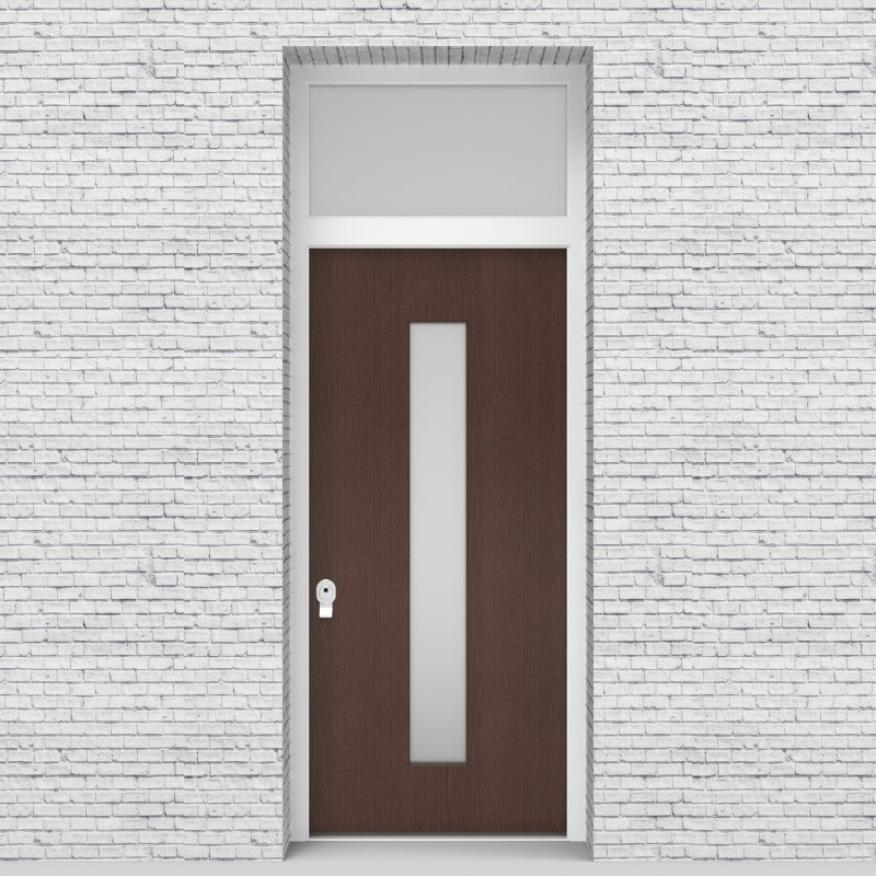 2.single Door With Transom Plain With Central Glass Dark Oak
