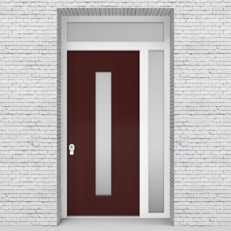 3.single Door With Right Side Panel And Transom Plain With Central Glass Mahogany