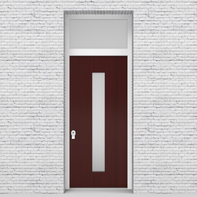 3.single Door With Transom Plain With Central Glass Mahogany
