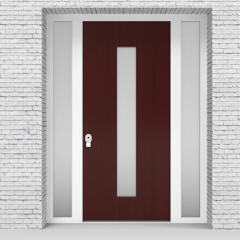 3.single Door With Two Side Panels Plain With Central Glass Mahogany