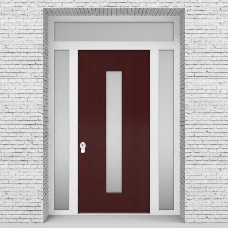 3.single Door With Two Side Panels And Transom Plain With Central Glass Mahogany