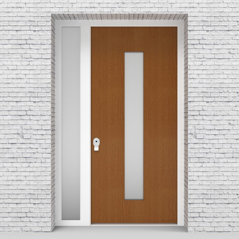 4.single Door With Left Side Panel Plain With Central Glass Oak