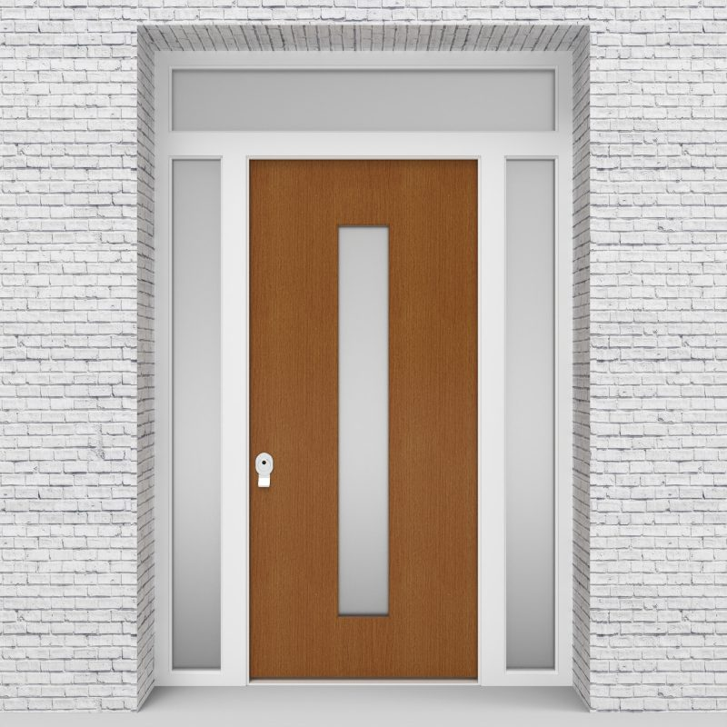 4.single Door With Two Side Panels And Transom Plain With Central Glass Oak