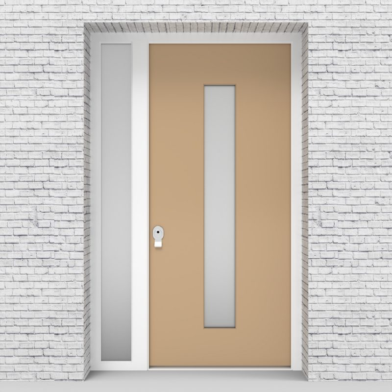 7.single Door With Left Side Panel Plain With Central Glass Light Ivory (ral1015)