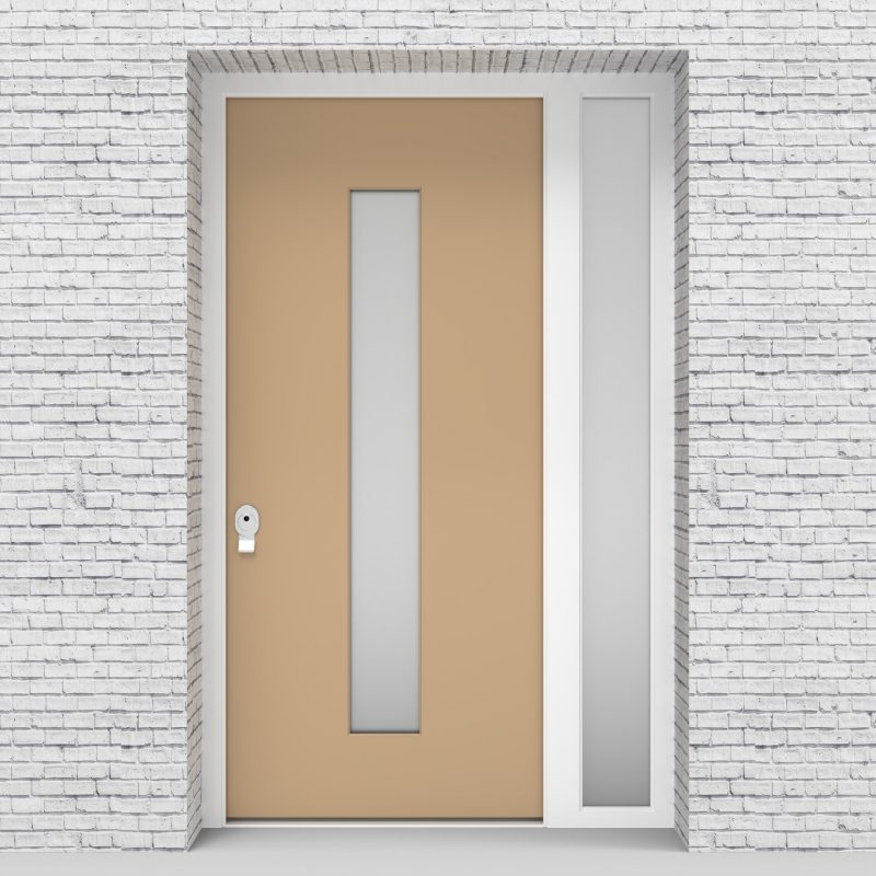 7.single Door With Right Side Panel Plain With Central Glass Light Ivory (ral1015)