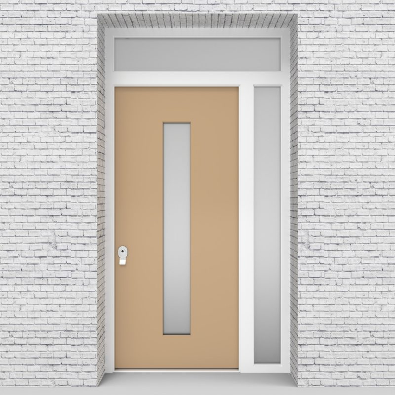 7.single Door With Right Side Panel And Transom Plain With Central Glass Light Ivory (ral1015)