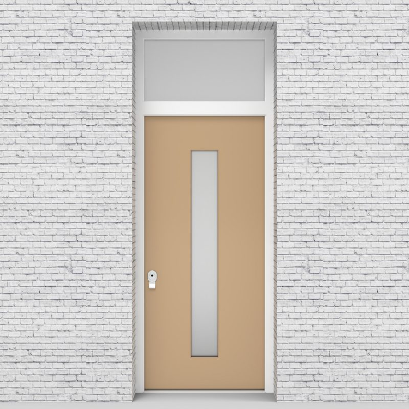 7.single Door With Transom Plain With Central Glass Light Ivory (ral1015)