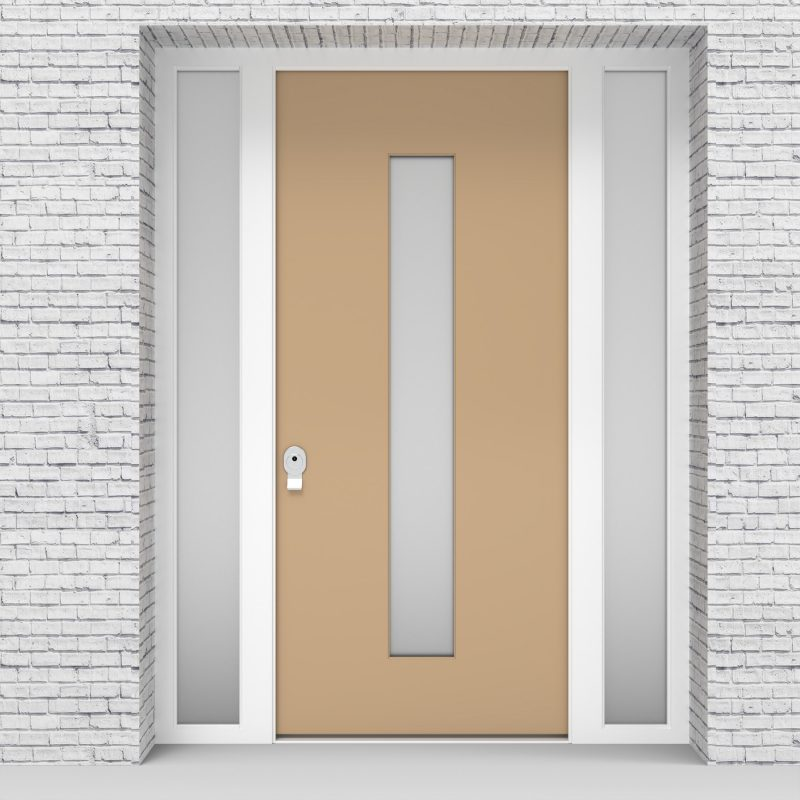 7.single Door With Two Side Panels Plain With Central Glass Light Ivory (ral1015)
