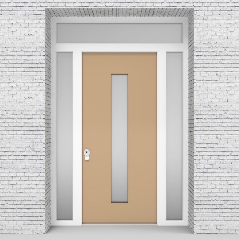 7.single Door With Two Side Panels And Transom Plain With Central Glass Light Ivory (ral1015)