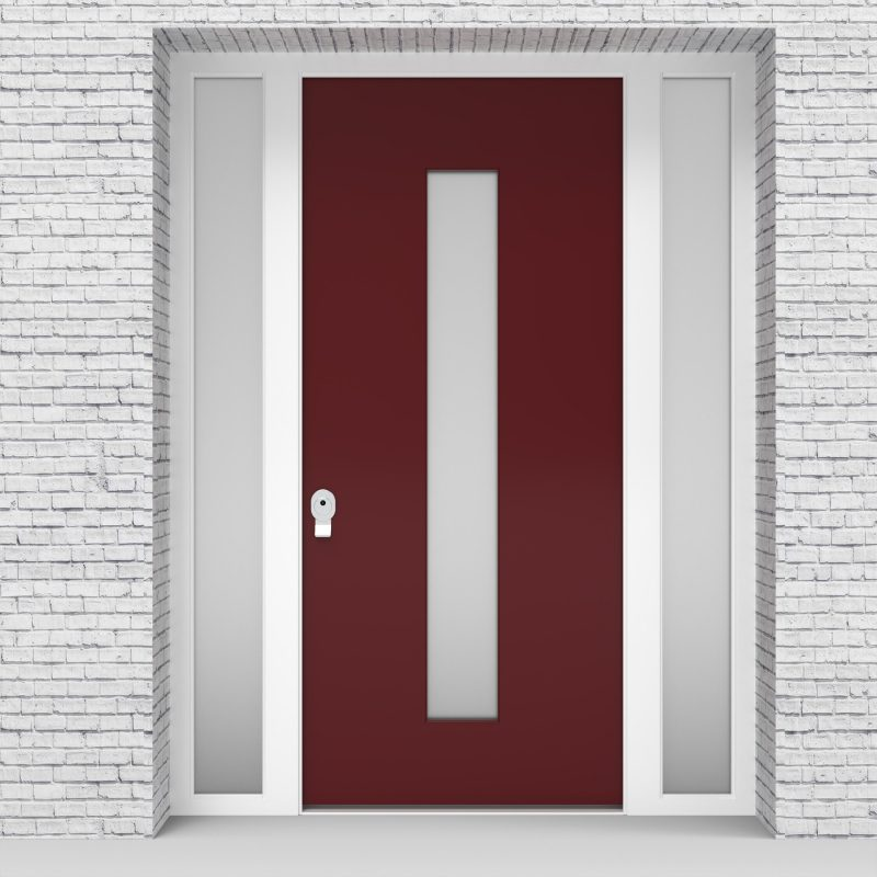 8.single Door With Two Side Panels Plain With Central Glass Ruby Red (ral3003)