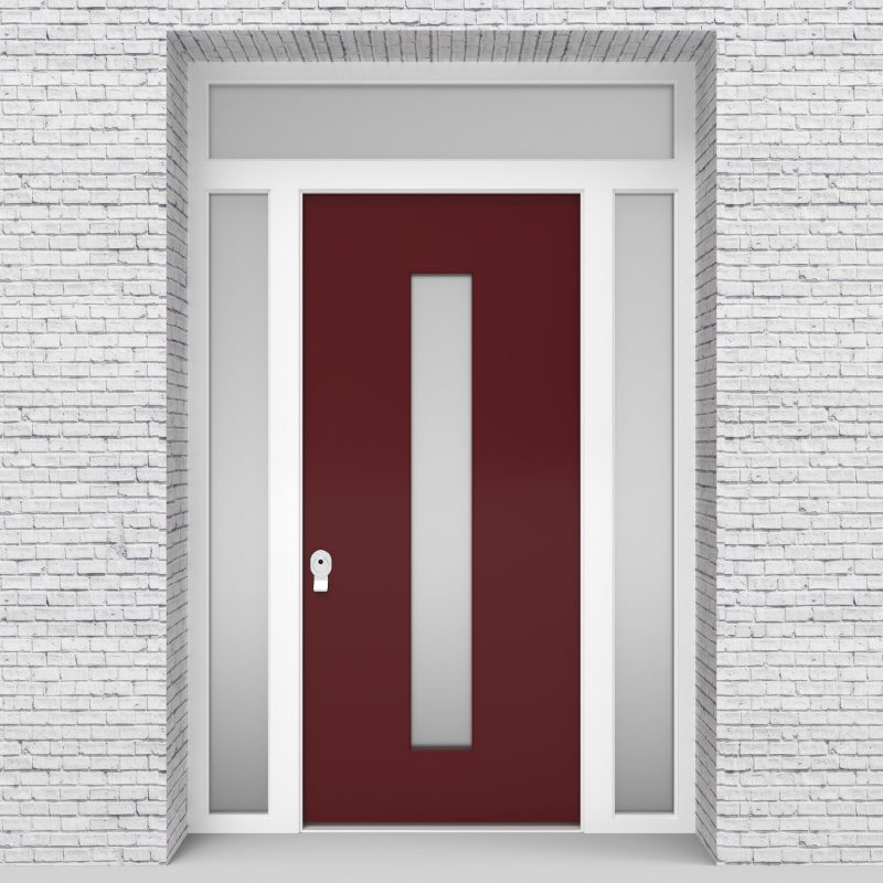 8.single Door With Two Side Panels And Transom Plain With Central Glass Ruby Red (ral3003)
