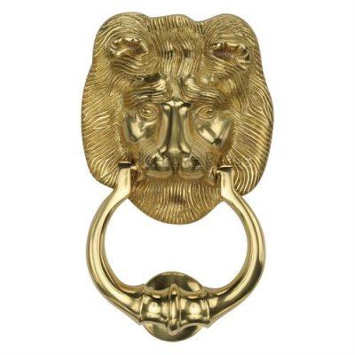 Lion Door Knocker Polished Brass
