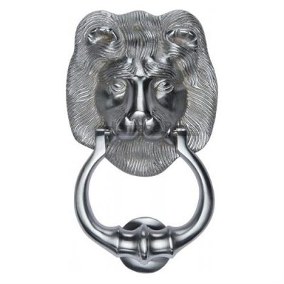 Lion Door Knocker Satin Chrome