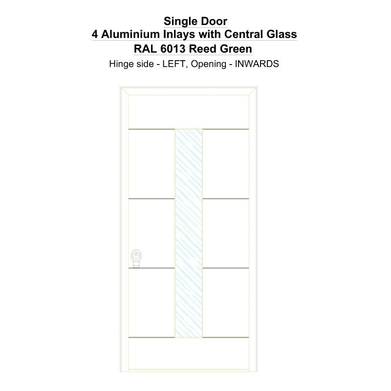 Sd 4 Aluminium Inlays With Central Glass Ral 6013 Reed Green Security Door