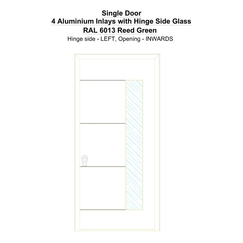 Sd 4 Aluminium Inlays With Hinge Side Glass Ral 6013 Reed Green Security Door